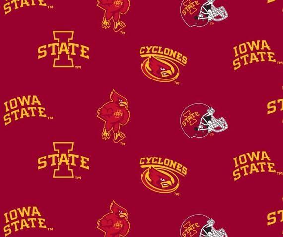 Iowa State University Cyclones Collegiate Cotton Fabric 1/4 Yard, 9 x 44 Sports Team 100% Cotton #iowastateuniversity