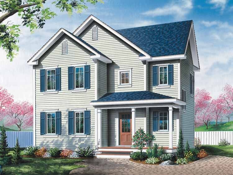 Colonial Style House Plan 3 Beds 1 5 Baths 1485 Sq Ft Plan 23 523 Narrow Lot House Plans House Plans Modern Farmhouse Plans