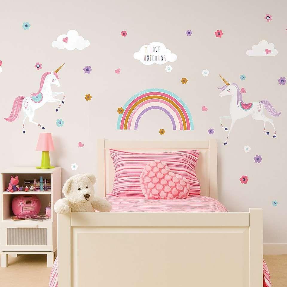 Glitter unicorn wall sticker girls room wall art