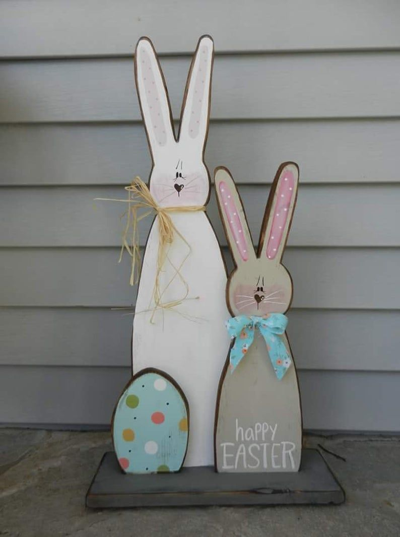 Standing Bunny/Wooden Easter Display/Easter Prim/Country   Etsy ...