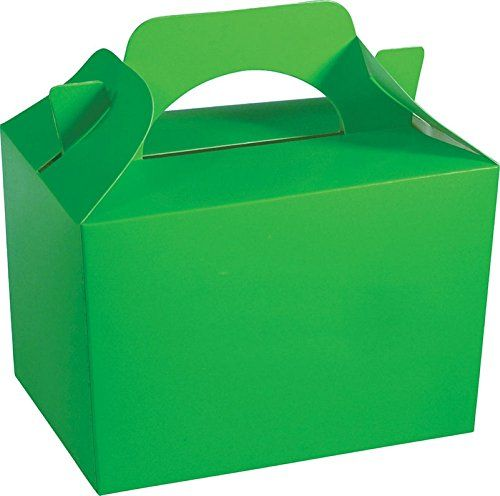 24 x Childrens Kids Plain Coloured Carry Food Meal Birthday Party Loot Bag Boxes
