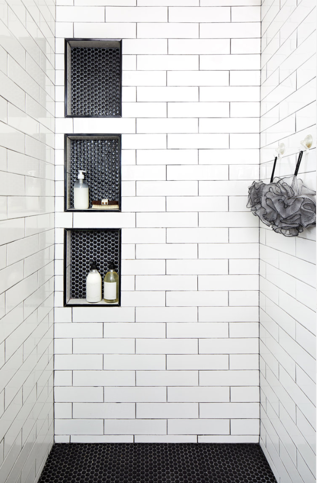 White Subway Tile Shower Bathrooms Remodel Shower Niche Bathroom Remodel Master