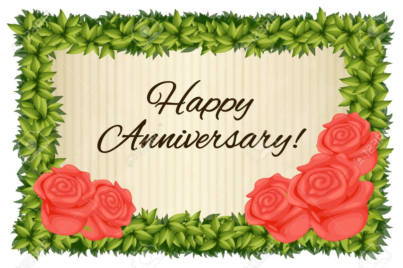 Happy Anniversary Card Template With Red Roses Illustration For Word Anniversary Card Template Happy Anniversary Cards Free Anniversary Cards Happy Anniversary