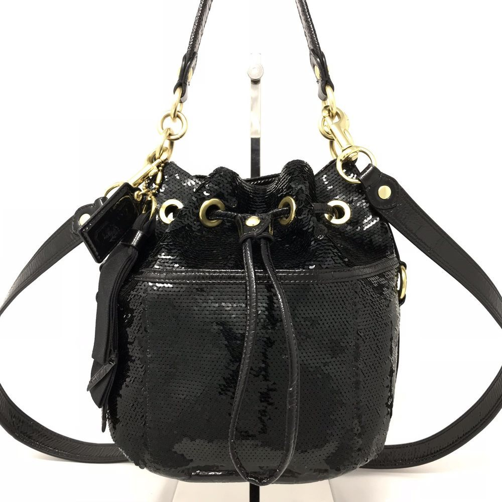 Coach Poppy Special Edition Black Sequin Drawstring Bucket Bag Satchel   17906  Coach  ShoulderBag de87d0596f739