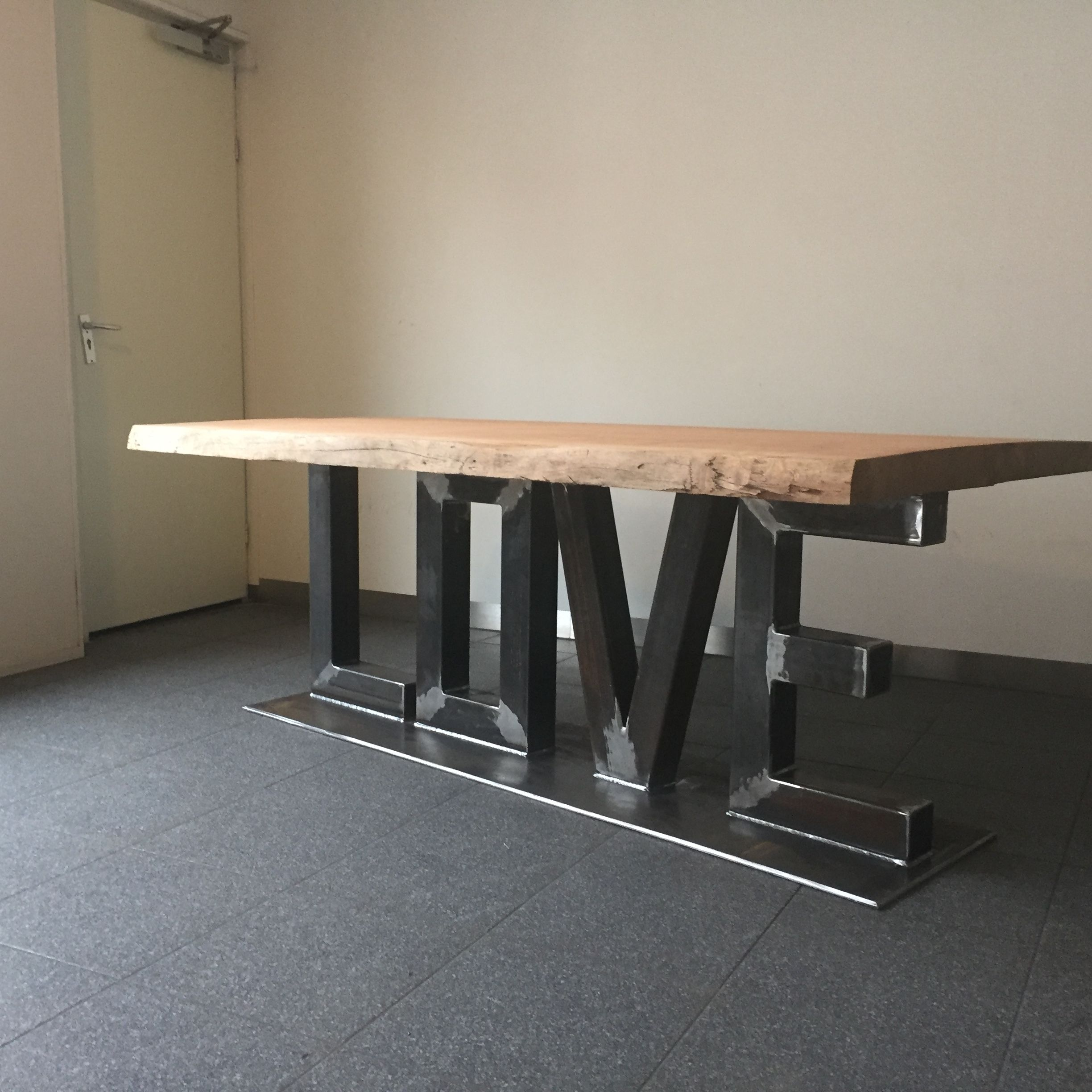 Table Bois Metal Design: Table Bois Mètal Design Industriel Sur Mesure Mobilier