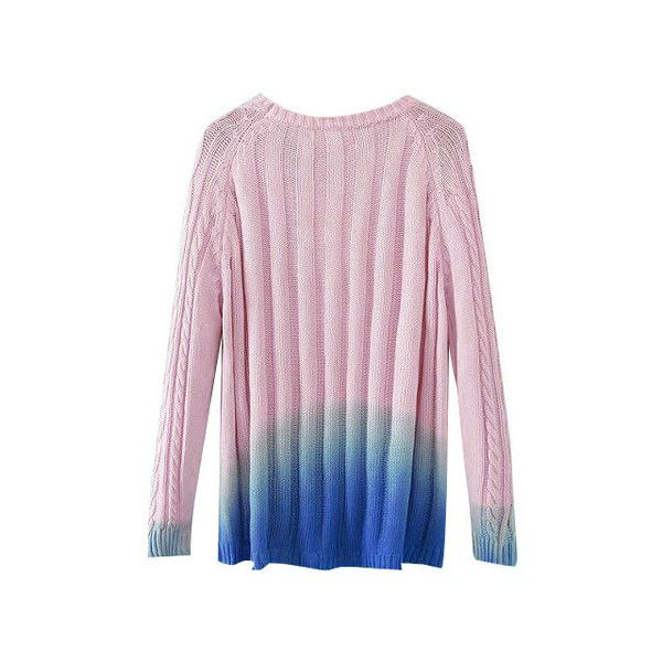 Gradient Cable Knit Pullover (€34) ❤ liked on Polyvore featuring tops, sweaters, pink pullover sweater, pullover sweater, pullover tops, chunky cable knit sweater and pink cable knit sweater