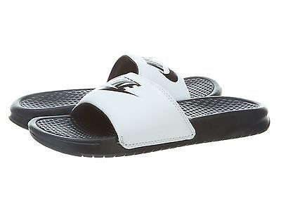 Men's Nike Benassi JDI Slide Sandals White/Black 343880 100