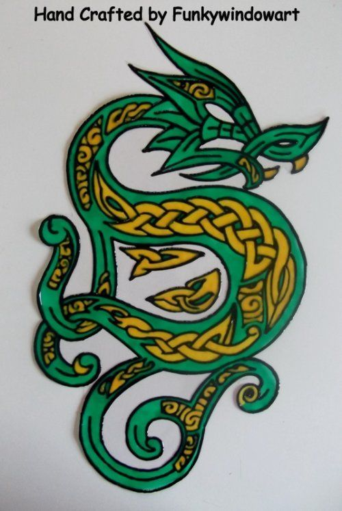 Celtic Dragon Static Window Cling hand painted celtic dragon static window clings window art stained glass effects suncatchers decals [] - £10.99 : Zen Cart!, The Art of E-commerce