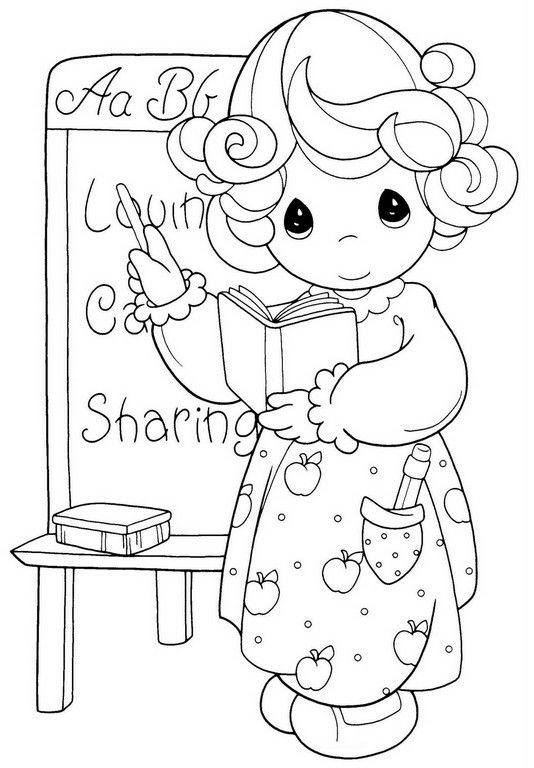 Fall - back to school | Precious moments coloring pages ...