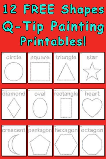 12 Shapes Q Tip Painting Printables Pinterest