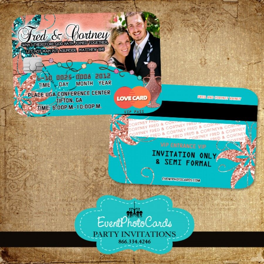 Arabian Theme Coral And Turquoise Wedding Invitations Credit Card Shipping Is Free Colors Can Be Changed At No Extra Cost