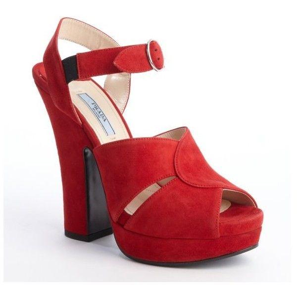 Prada Red Suede Buckle Strap Peep Toe Platform Pumps ($635) found on Polyvore