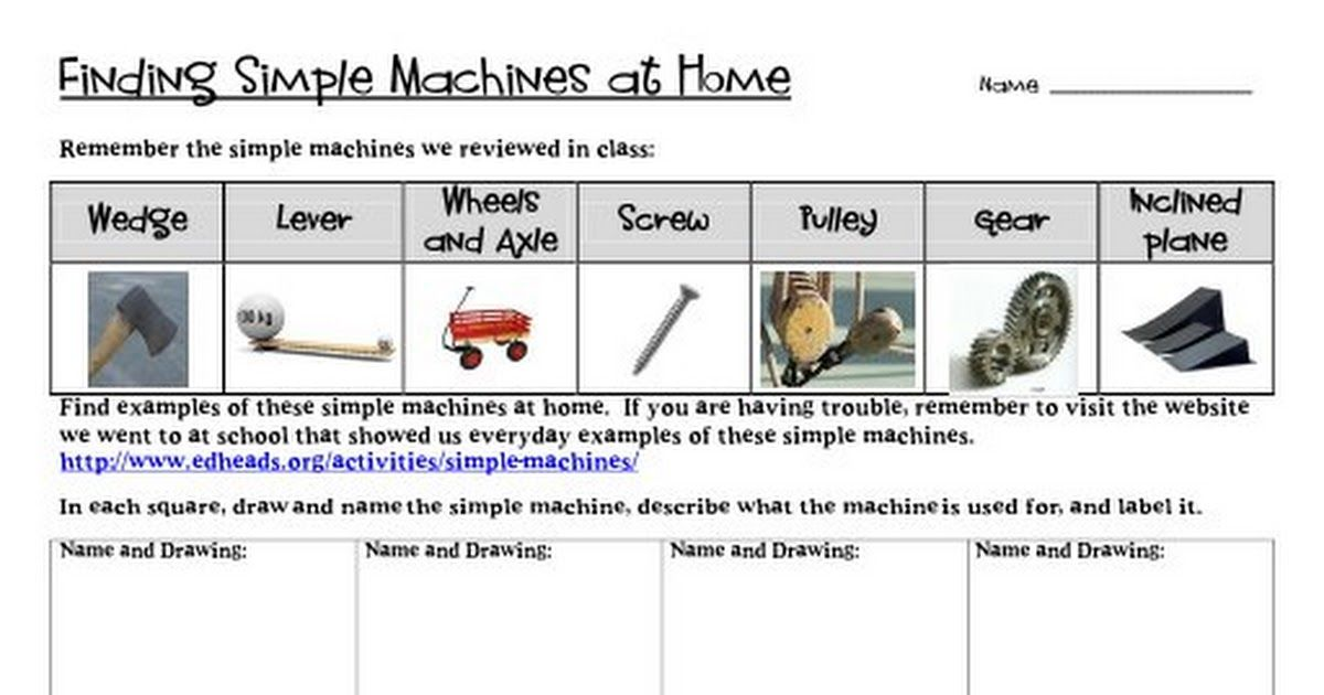 Finding Simple Machines At Home Pdf Science Simple Machines Simple Pdf