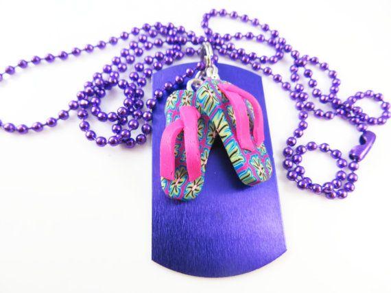 Little girls purple flip flop necklace    by jewelryandmorebykat