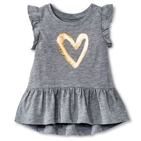Baby Girls' Heart Icon Peplum Tee Gray - Circo™