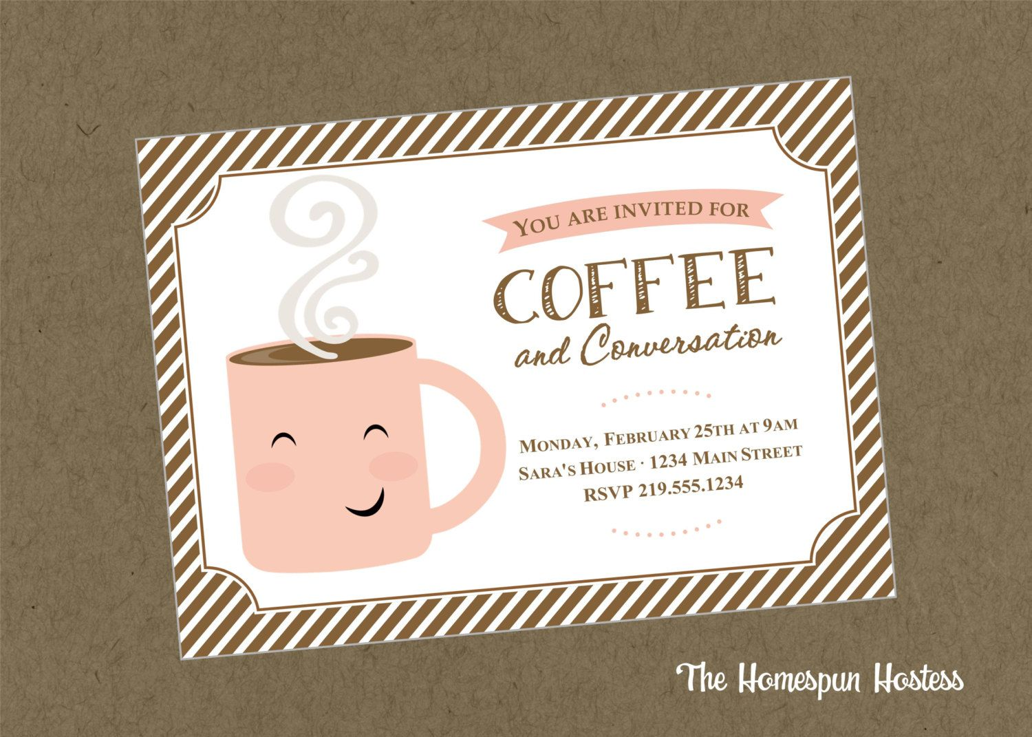 Coffee and Conversation Printable Invite in Brown