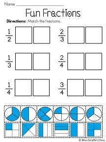 Fun Fractions Cut and Paste | the girls | Pinterest | Math, School ...