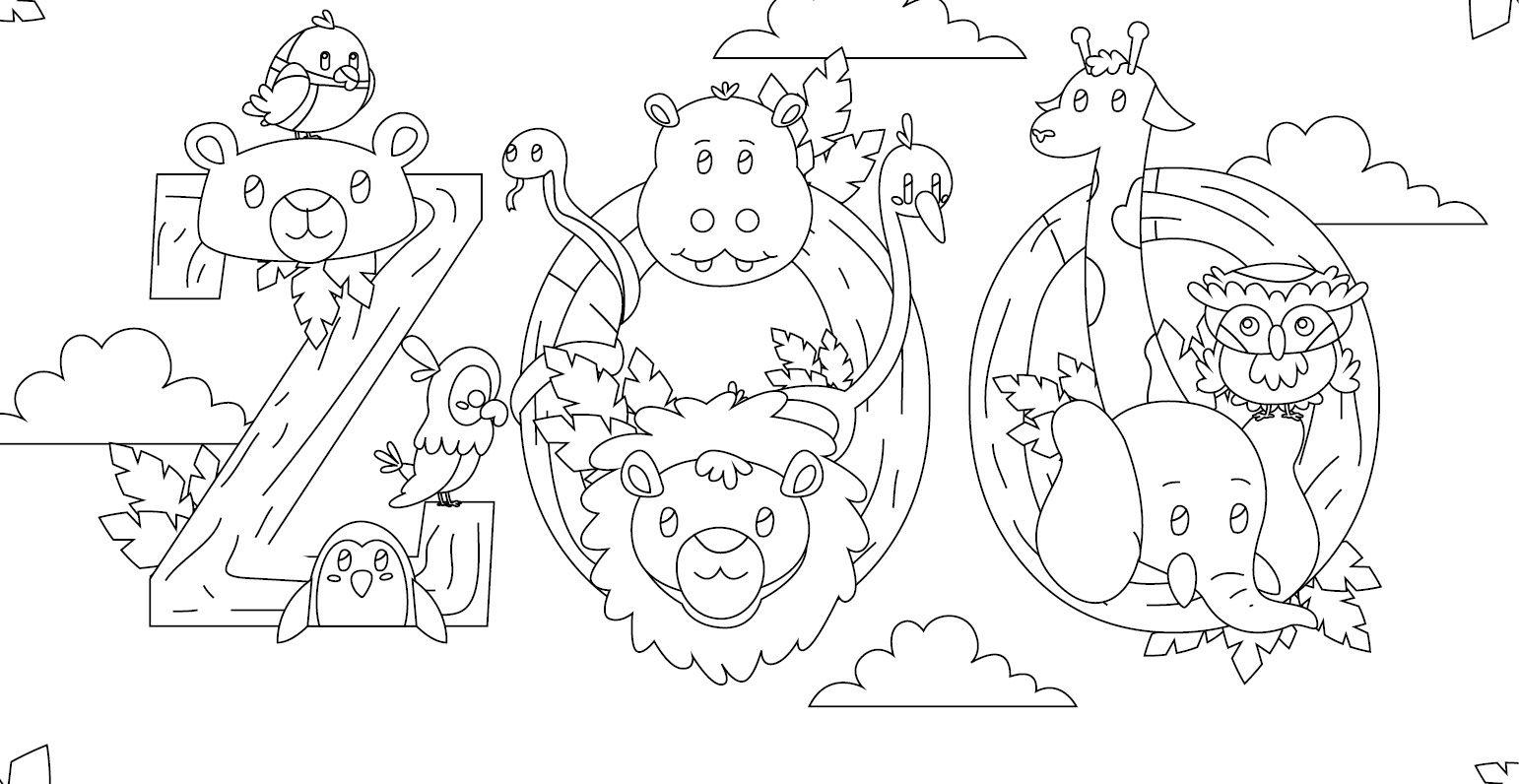 Coloriage Gratuit Visitons Les Animaux Au Zoo Coloring Pages