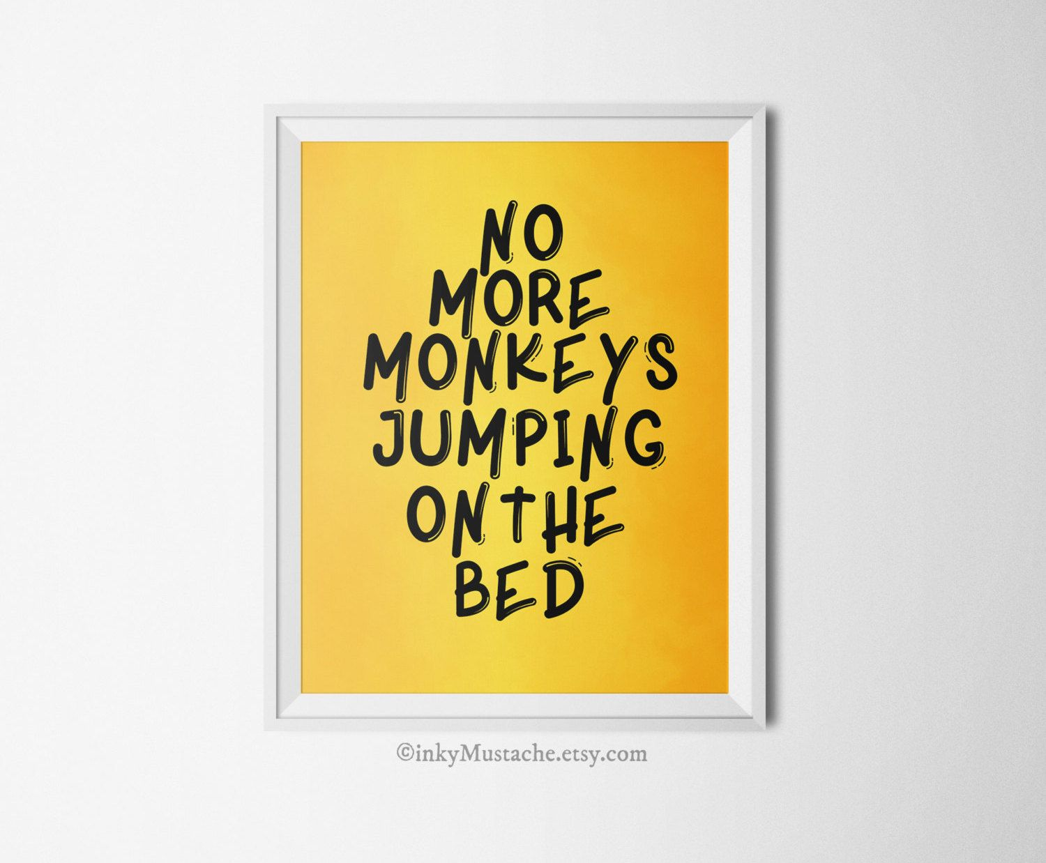 No More Monkeys Jumping On The Bed Wall Art - Elitflat