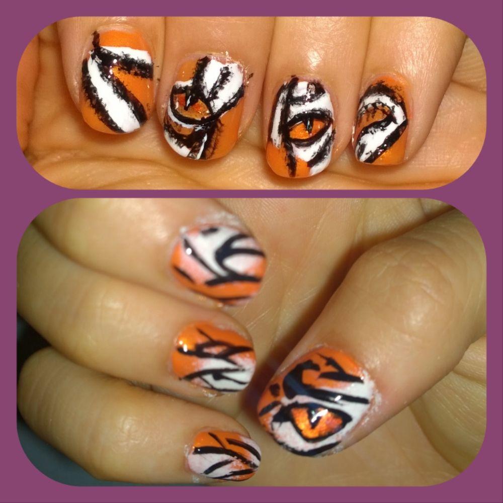 Nail art, tiger eye, Clemson, lsu, go tigers, orange and black ...