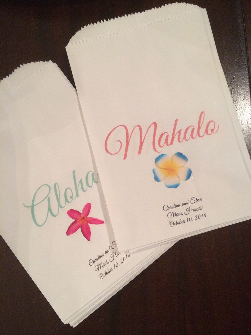 Wedding Hawaii favor bags. Set: 10 Aloha and 10 Mahalo Treat Bags ...