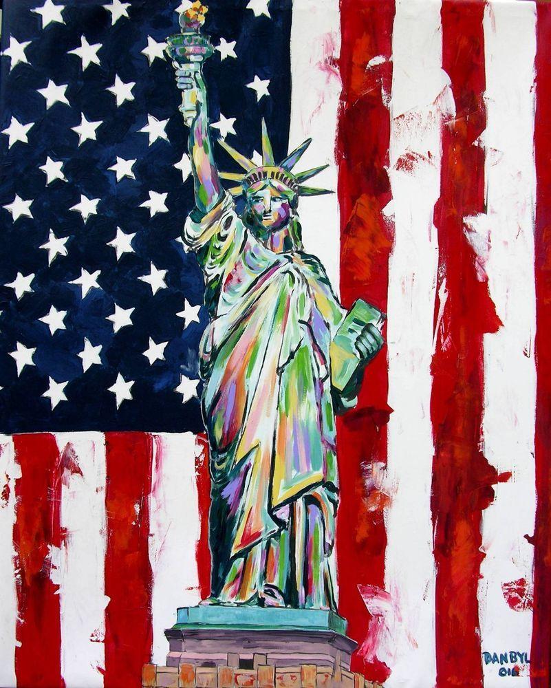 Statue of Liberty Original Modern Pop Art Painting Dan Byl New York Huge 4x5ft #Impressionism