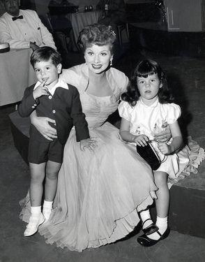 Actress Lucille Ball with her children, musician Desi Arnaz Jr. and actress Lucie Arnaz.