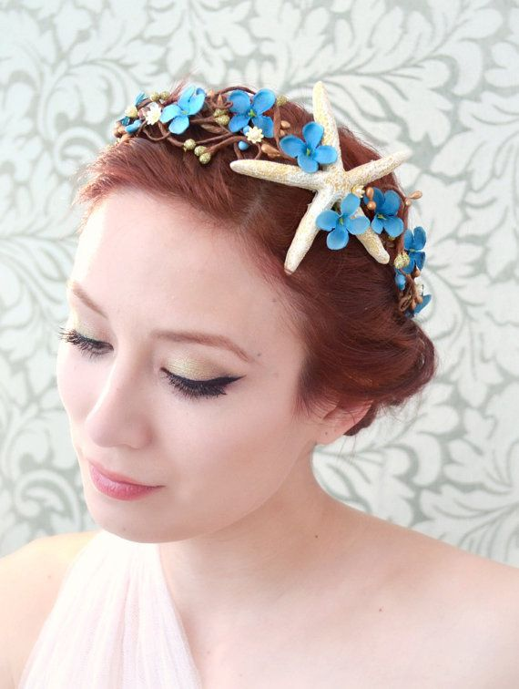 ... Beach wedding hair accessory, starfish flower crown, mermaid head piece, whimsical accessory (