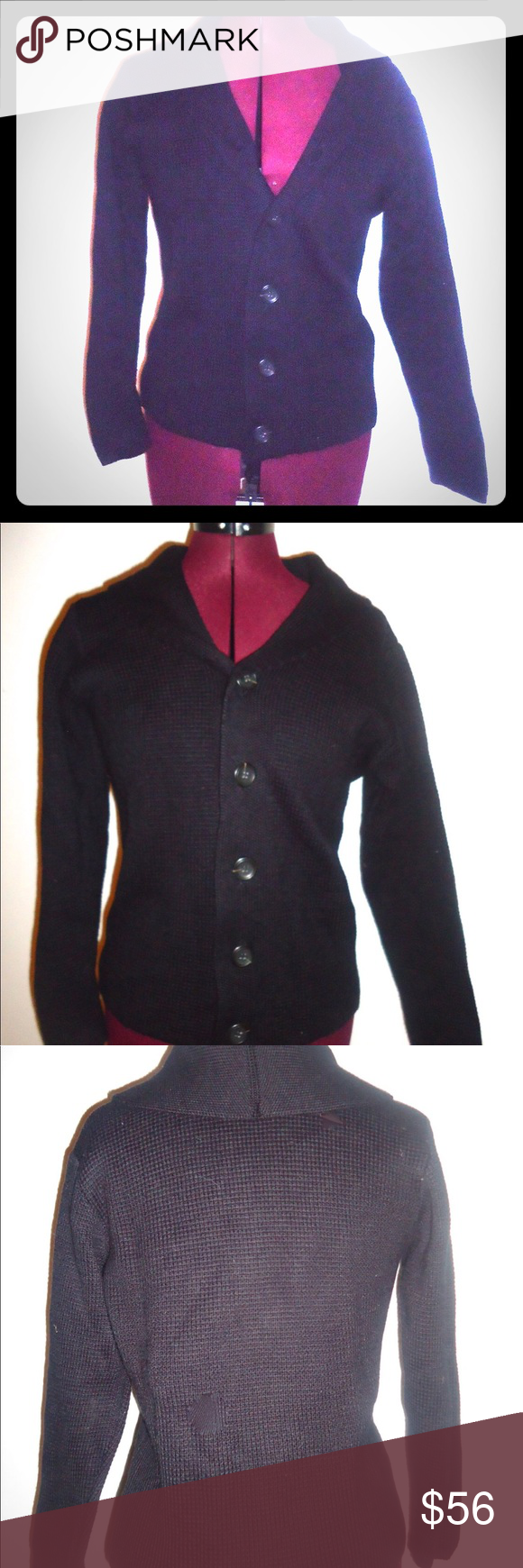 Black Cardigan Sweater Made in Italy Emozioni Uomo Vintage High ...