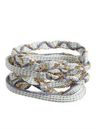 baby blue and cobalt woven fabric and chain convertible wrap bracelet