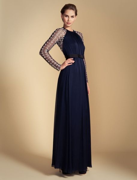 fbcd7f18d750 Temperley London Long Angeli Lattice Dress in Blue (midnight ...