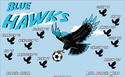 Hawks-Blue-154546  digitally printed vinyl soccer sports team banner. Made in the USA and shipped fast by BannersUSA. www.bannersusa.com