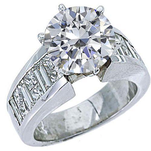 11 CARAT WOMENS DIAMOND ENGAGEMENT WEDDING RING BRILLIANT ROUND CUT WHITE GOLD
