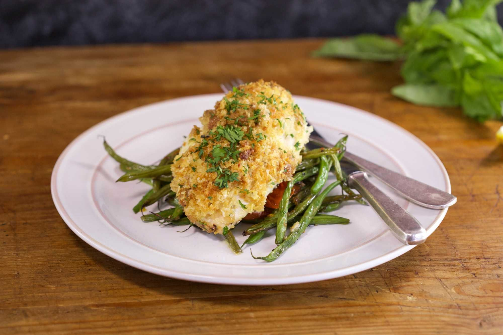 Chicken or Fish with Lemon-Parm Crust.