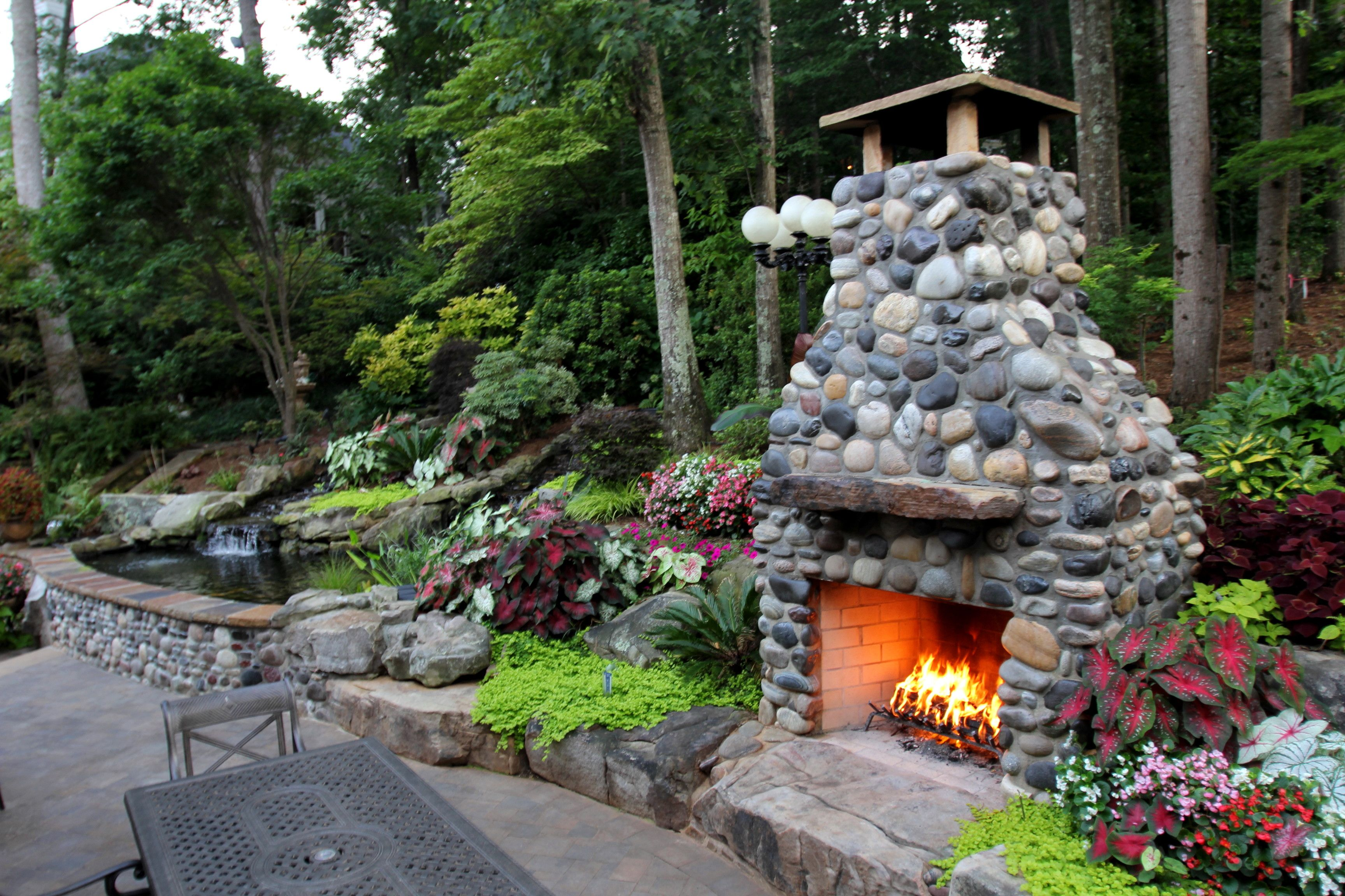 Outdoor Fireplace Made Out Of Montana River Rock And A