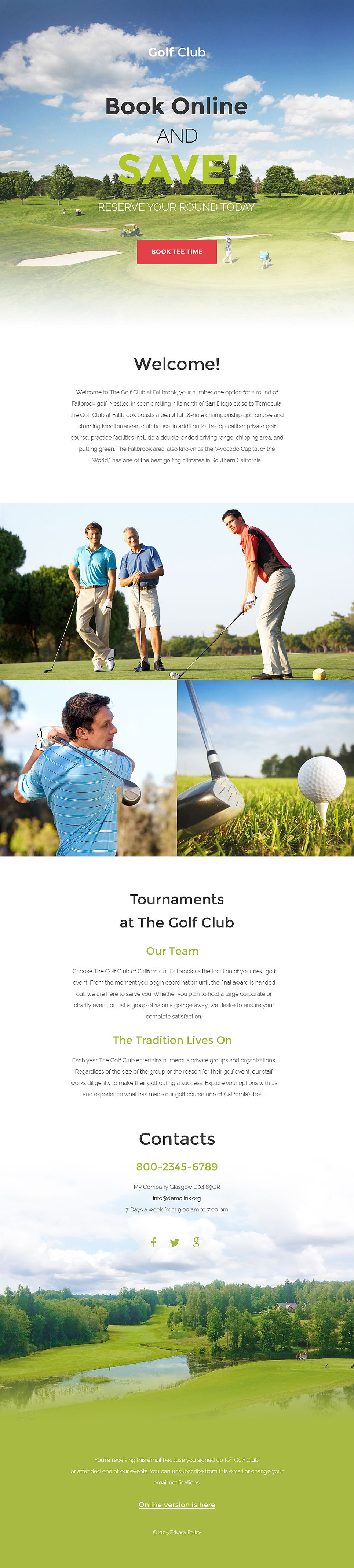 Golf Responsive Newsletter Template | Newsletter templates and Template