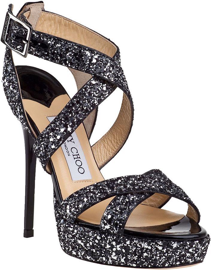 bc9fc845fff0 JIMMY CHOO Vamp Evening Sandal Black Glitter