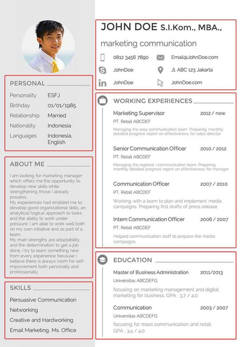 11 Resume Template Indonesia in 2020 Curriculum vitae