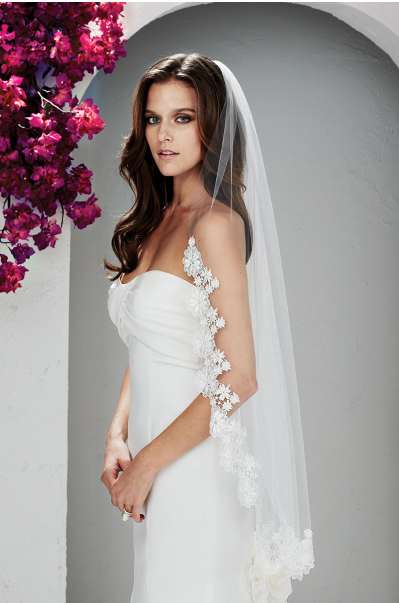Finished Edge 42 Lace Wedding Veil Beaded Alencon Lace Fingertip Length Veil with Pearls and Rhinestones