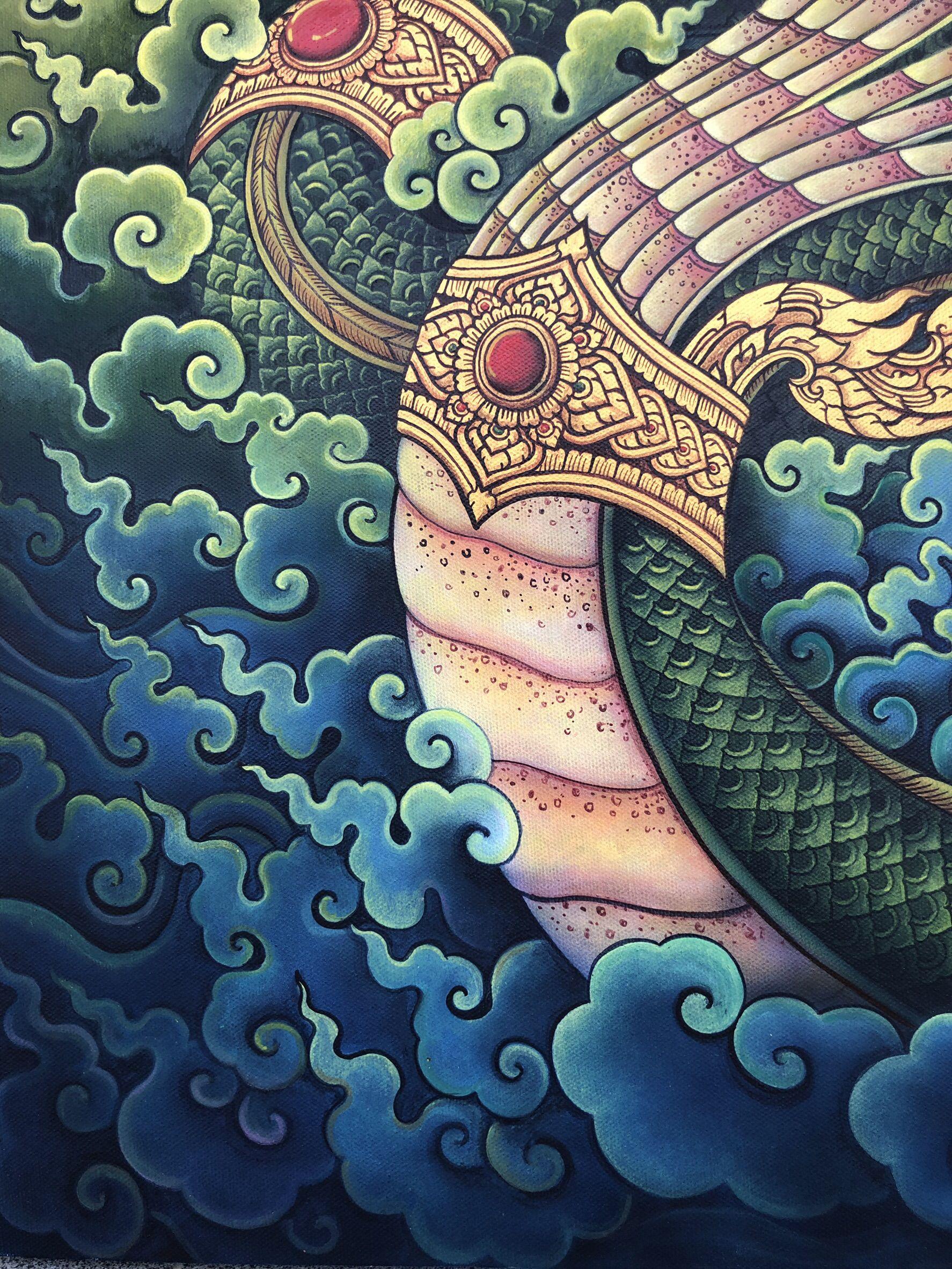 Plabpluengsgallery Artgallery Kunst Kunsthandwerk Artwork Thaiart Kingofnagas Acrylmalerei Acrylpainting Painting พญานาค พญา ศ ลปะ บรรพศ ลป ภาพวาด