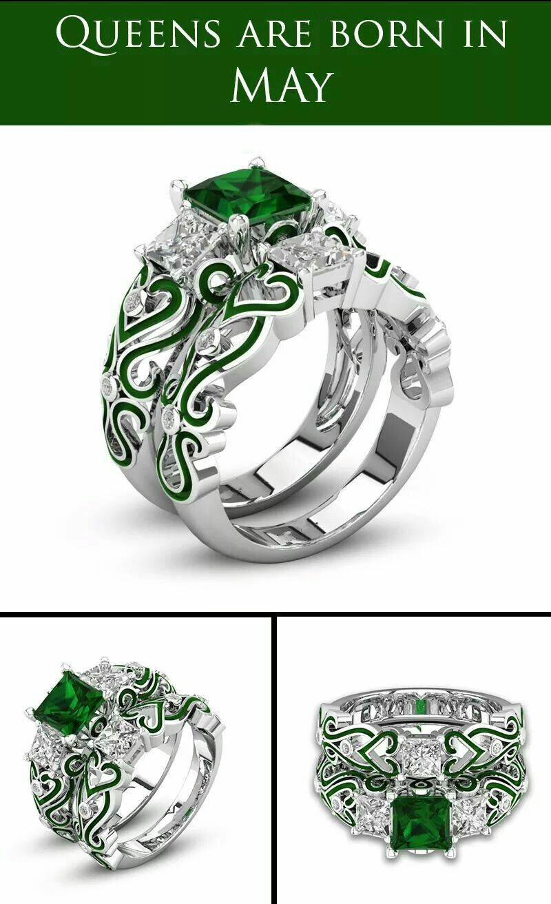 silver from ring band colors men for item bridal new jewelry choucong white in sterling filled cz green zircon rings engagement wedding birthstone sets women gold