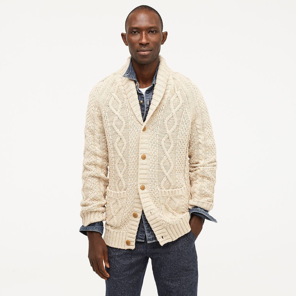 J.Crew: Rugged Cotton Cable knit Shawl collar Cardigan