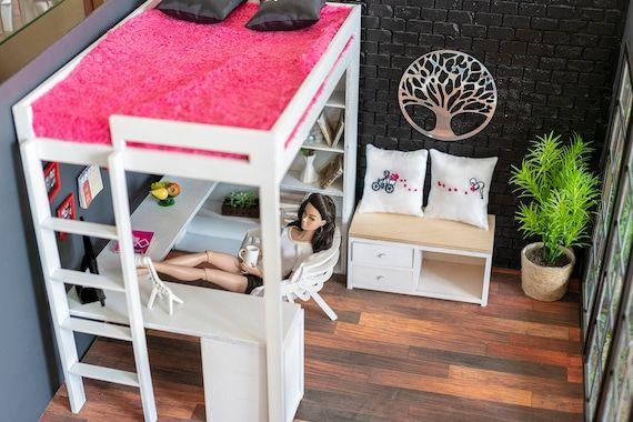 Bed for dolls 1/6 dollhouse furniture 12 in FR Barbie, Integrity, Blythe, BJD, doll furniture