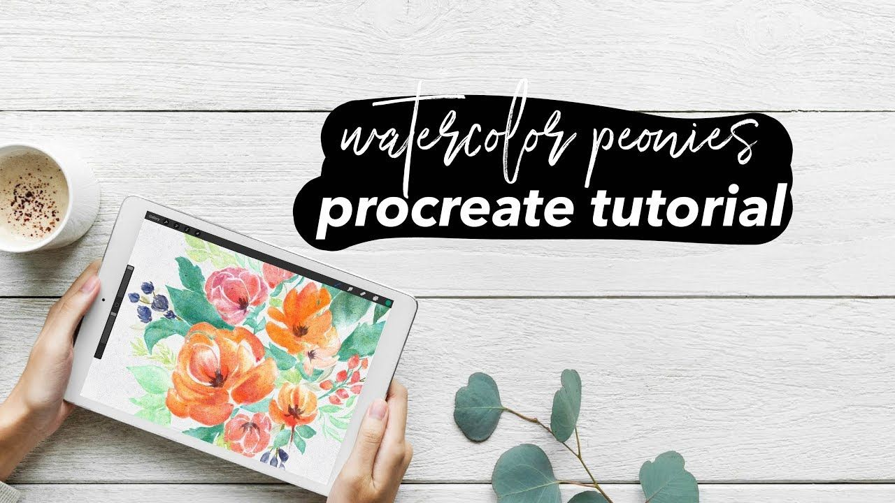 How To Paint Watercolor Peonies In Procreate Ipad Pro Tutorial