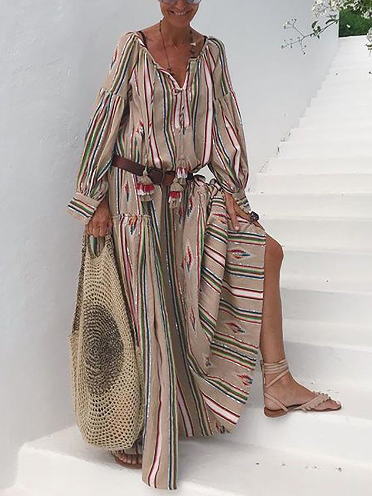 Holiday Striped Long Maxi Dresses #summerdresses