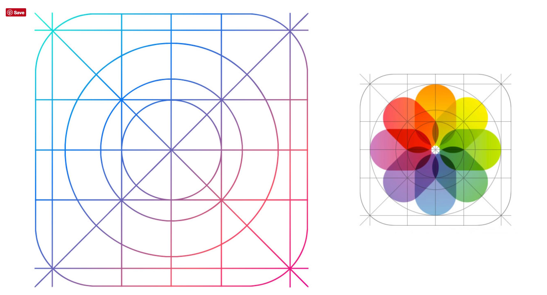 Golden ratio grid system designed by apple. Ios design
