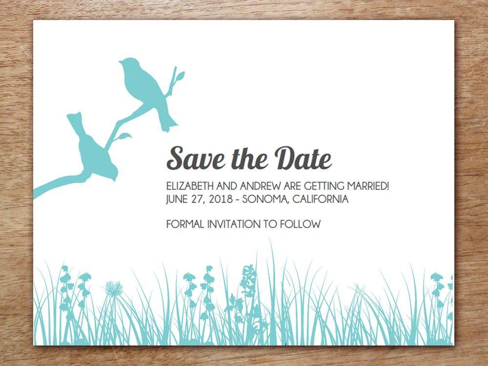 Printable Save The Date Card  Love Birds  Wedding Decor Ideas