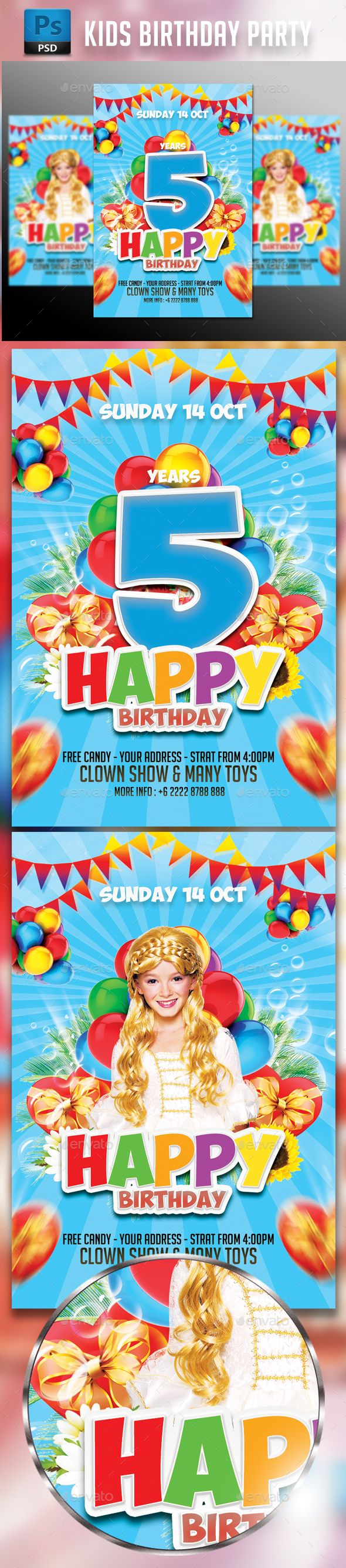 Kids Birthday Party Flyer Template  Events Flyers Flyer