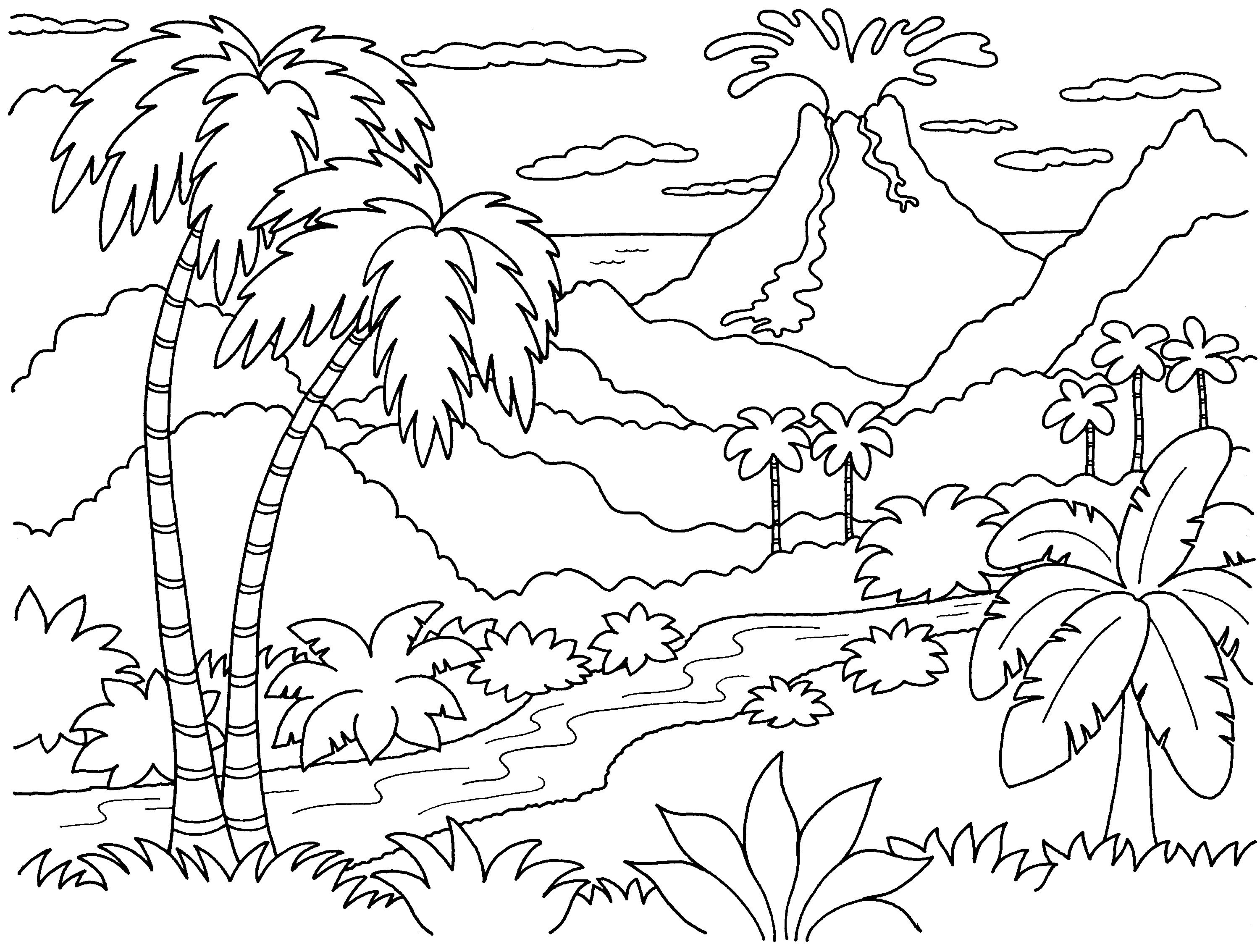 Dinosaur And Volcano Coloring Pages Google Search Coloring Pages Nature Beach Coloring Pages Tree Coloring Page