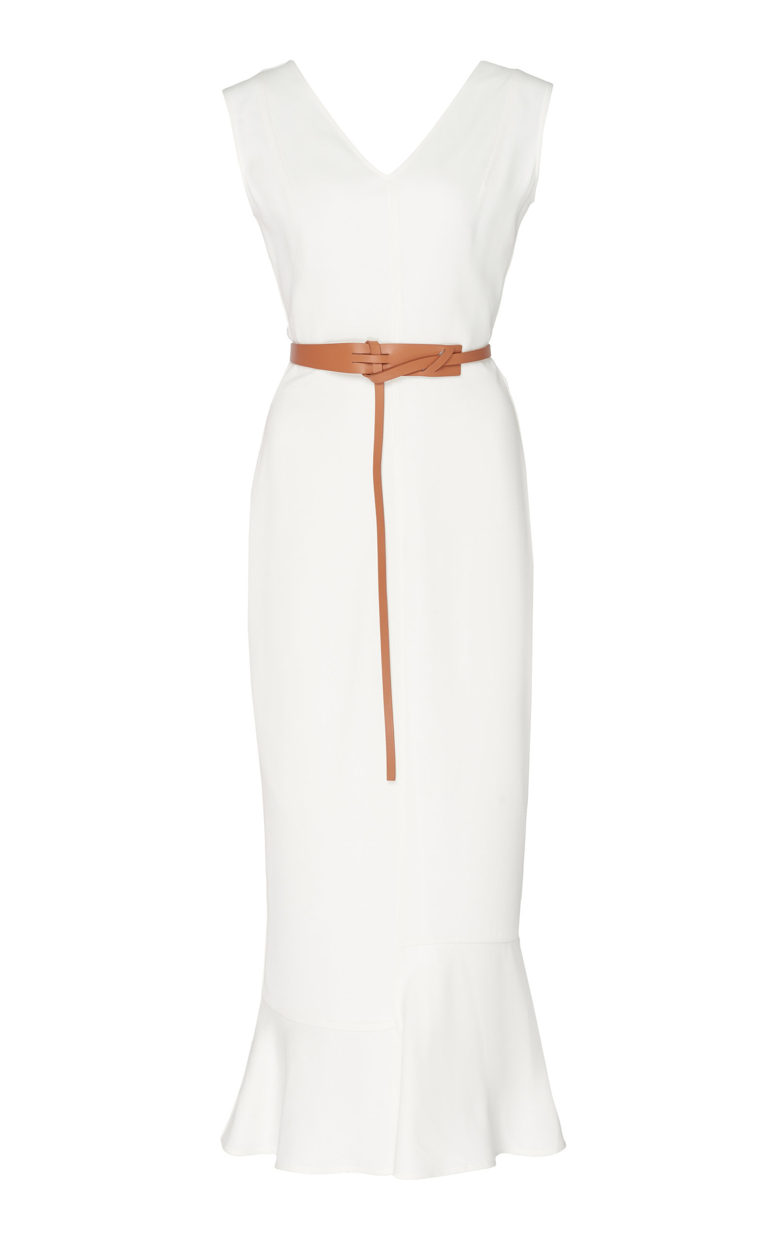 Georgette Frill Hem Midi Dress With Belt By Victoria Beckham For Preorder On Moda Operandi Fashion Midi Dress Classy Charming Dress [ 2560 x 1598 Pixel ]
